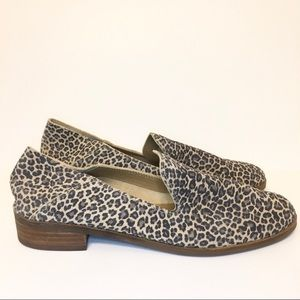 Lucky Brand Leopard Cahill Crashback Flats Mules